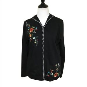 ERICA Black With Floral Stitching Cardigan S